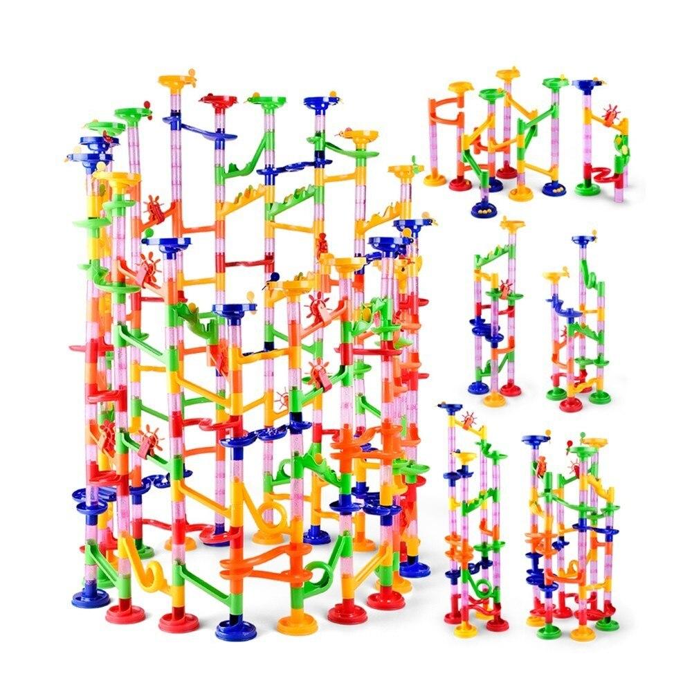105PCS DIY Construção Trilha Blocos de Tubos Para As Crianças Bola Circuito Mármore Corrida Corrida Bolas Labirinto Brinquedos Educativos Presente Duploe blocos