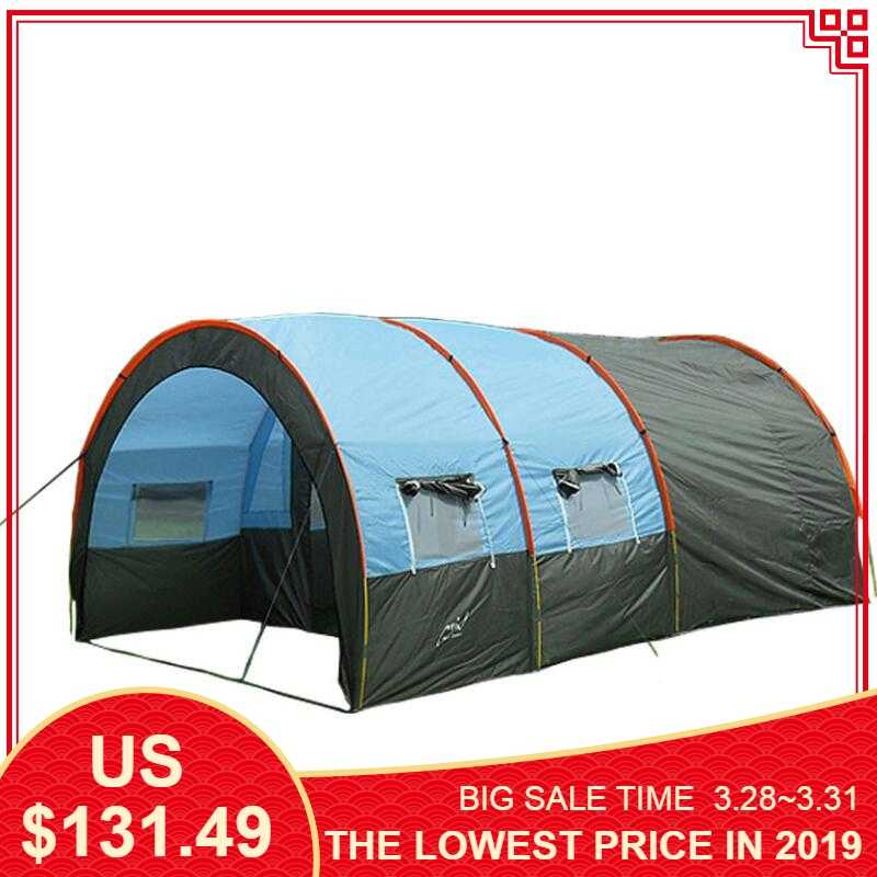 c5ad95ee9d Large Camping tent Waterproof Canvas Fiberglass 5 8 People Family Tunnel 10 Person  Tents equipment outdoor