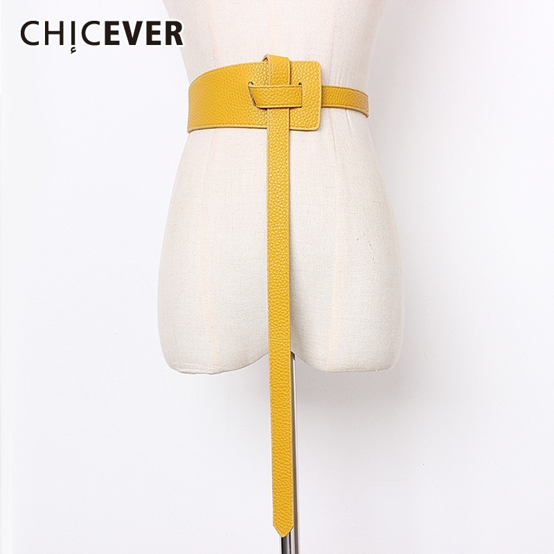 CHICEVER Summer Vintage Solid Perforation Buckle Irregular Belt For Women Crossing Female Belts 2019 Fashion Tide