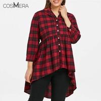 CosMera Tartan High Low Shirt Women Shirts Blouses Autumn Long Sleeve Button Up Womens Tops and Blouses Feminina 5XL Plus Size