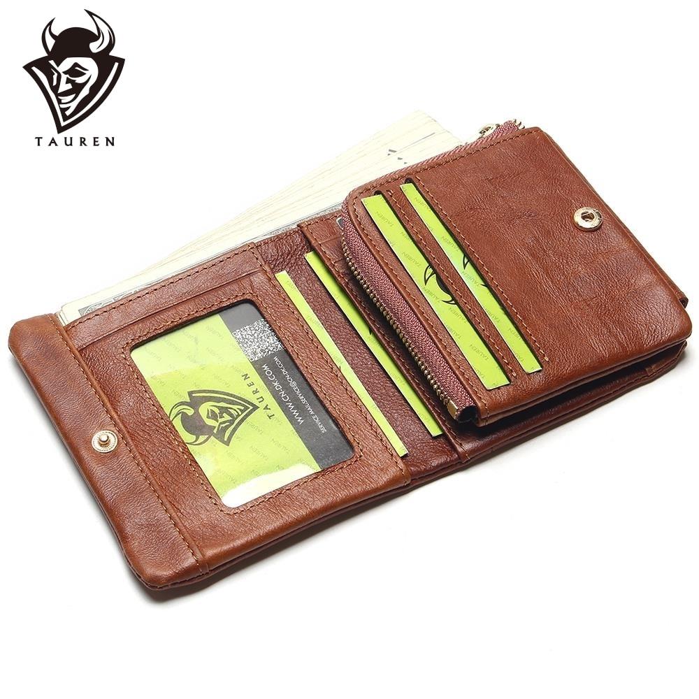 TAUREN 100% Lederen Mannen Portefeuilles OLIE LEDEREN Vintage Trifold Portemonnee Zip Portemonnee Purse Rundleer Portemonnee Voor Heren