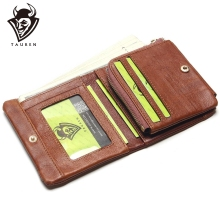 TAUREN 100% Genuine Leather Men Wallets OIL LEATHER Vintage Trifold Wallet Zip Coin Pocket Purse Cowhide For Mens