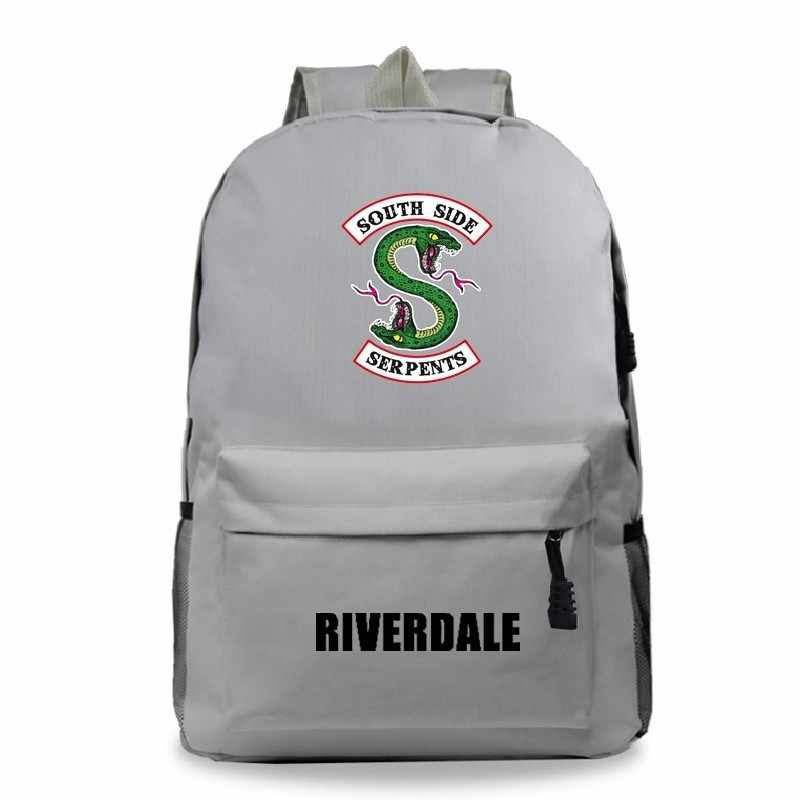 Canvas Book Bag Travel Riverdale 2 Style Fashion Anime South Side Serpents Mochila Mujer Laptop Backpack School Sac a Dos