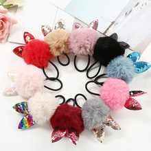 Sale 1PC Fake Rabbit Fur Ball Elastic Hair Band Cute Girls Children Cat EAR POMPOM Rope Accessories