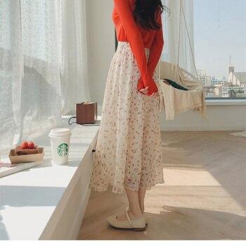 chiffon Print skirts 2019 new Bohemian High Waist Floral Summer Skirts Womens Boho Maxi Long For Women