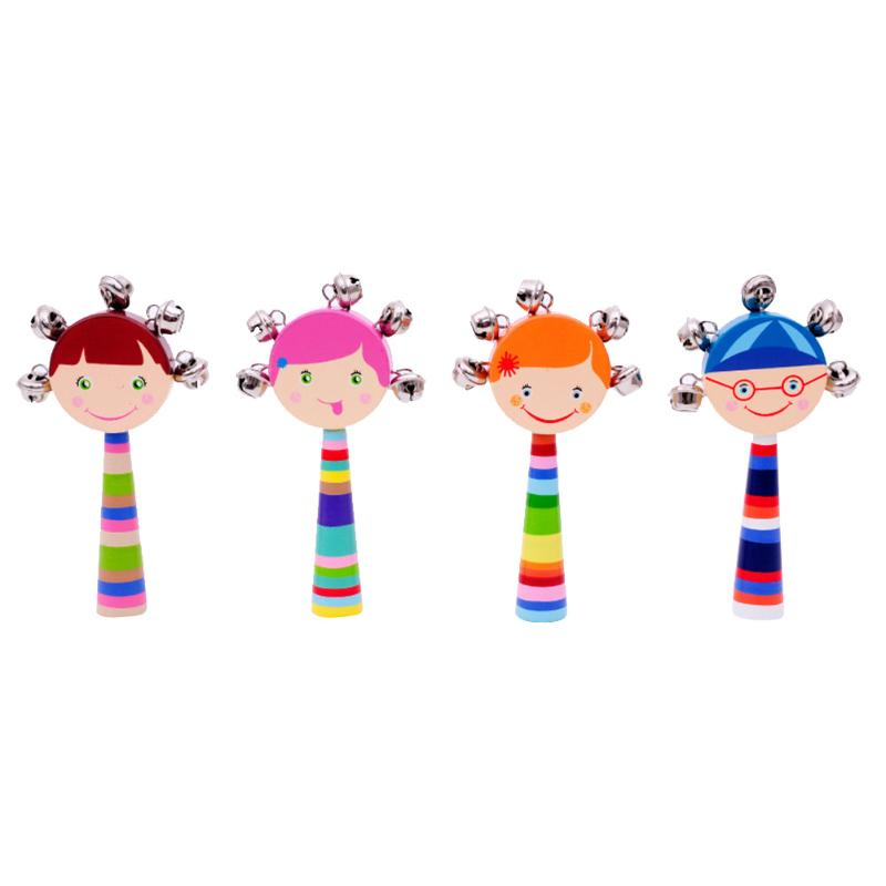 Cute Wooden Stick Rainbow Hand Shake Bell Baby Rattles Jingle Bells Infant Shaker Rattle Ring Educational Toy Christmas Gift