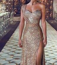 Summer Dresses 2019 New Women Sexy Sequins Formal Dress Sleeveless Single Shoulder Backless Long