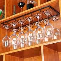 Creative Iron Wine Glass Hanging Holder Goblet Stemware Glass Cup Storage Rack Kitchen Bar Cabinet Closet Inner Organizer Racks