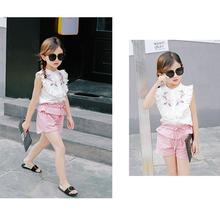Kids GirlsT-Shirt Tops and Shorts Pants Set 2 Pcs Fashion Kids Baby Girls Sleeveless Falbala Blouse Set Summer Outfits For 3-7 Y kids gingham blouse with pants