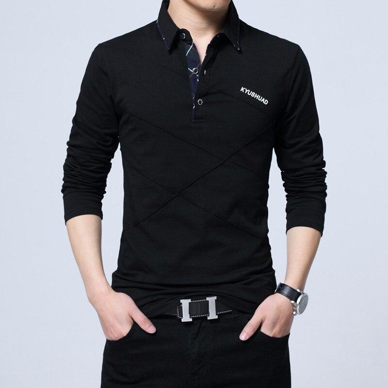 5XL Polo Shirt Collar Men Plus Size 3XL 4XL Autumn Button Brand Men Polo Shirt Long Sleeve Casual Male Shirt Dress Polo Shirts 4