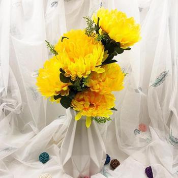 Güzel Yapay Ipek çiçekler Krizantem Küçük Buket Simülasyon Sahte