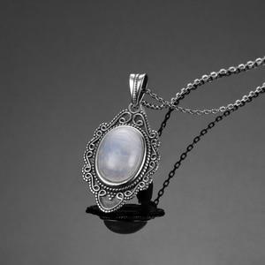 Image 2 - Высокое качество, чистое серебро, винтажный Овальный Радужный Лунный Камень, подвески, ожерелья, Женские Ювелирные Украшения ручной работы, подарки, оптовая продажа