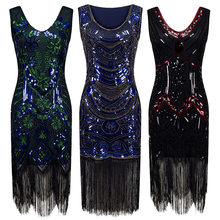 1920s Vintage Inspired Sequin Embellished Fringe Long Gatsby Flapper Dress V-Neck Sleevelee Geometric Fancy 20s Party Dress(China)