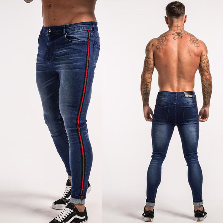 2019 New Men Slim fit Side Red Stripe Skinny   Jeans   Fashion Straight Elastic Causal Denim Pants Streetwear Mid-Waist Man Trousers