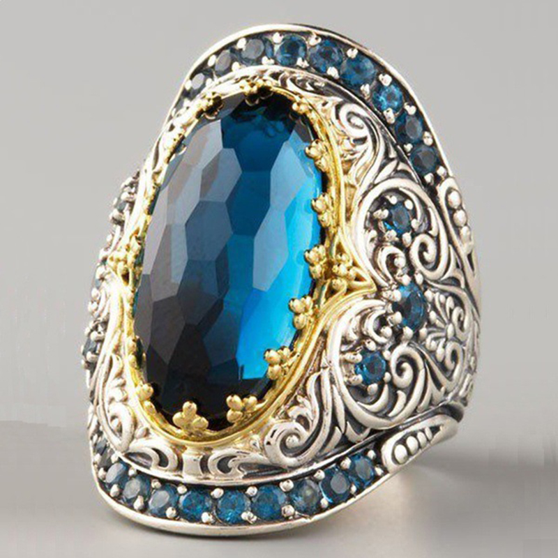 Oval Big Blue Stone Rings Boho Women Engagement Wedding Band Antique Silver Female Finger Ring Party Vintage Jewelry DDR337