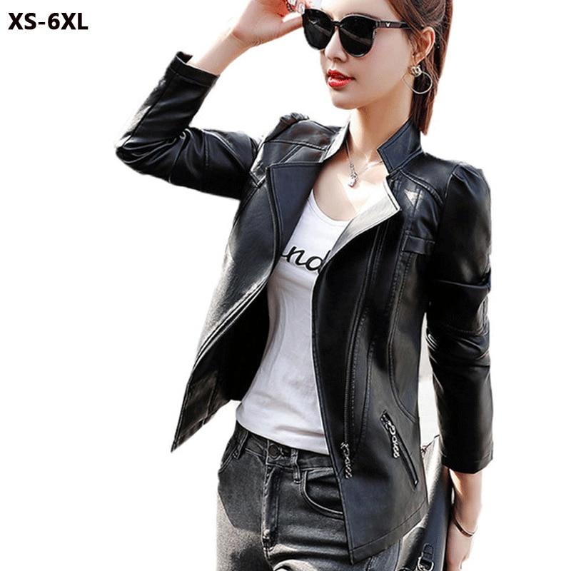 Plus Size XS 6XL Women   Leather   Jacket black   Leather   Jacket Zipper Long Sleeve Short Coat Motorcycle Coat   Leather   Jacket Women 08