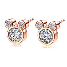 41a42260f Mickey Stud Earring For Women Girls AAA Zircon Crystal Wedding Bridal  Fashion Rose Gold Silver Color