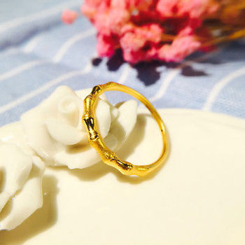 1PCS New Solid 24K Yellow Gold Ring Band Bamboo Design Simple Lady's Band Size 5
