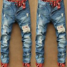 2018 Autumn New Retro Hole Jeans Men Ankle-Length Pants Cott