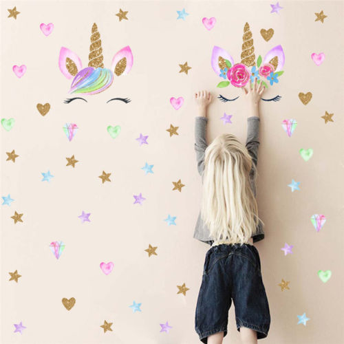 Hot Magical Fairy Unicorn Bling Stars Wall Decal Art Stickers Vinyl Home Room Decoration Kids Nursery Room Decor