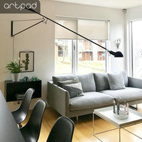 Artpad Modern Adjustable Long Swing Arm Wall Lamp Lights For Reading Rotatable Flexible Vintage Black Wall Lamp LED With Switch