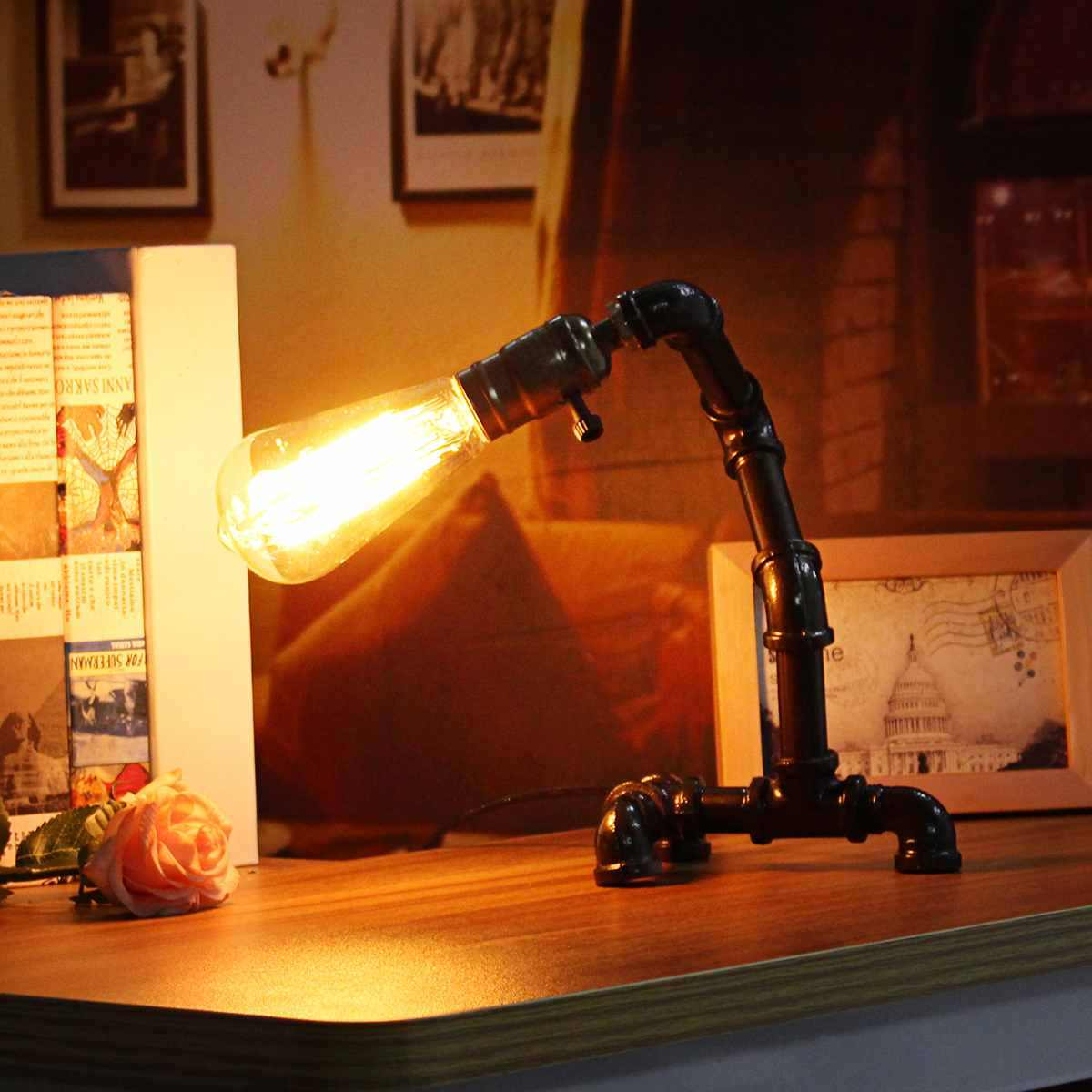 110-240 В винтажные промышленные трубные настольные лампы Светодиодный Настольные лампы для спальни Ночная книга для чтения Новинка Свет домашний Декор подарок