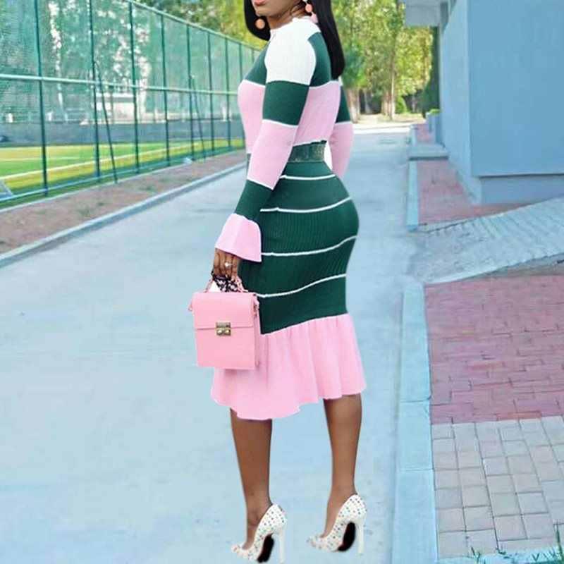 Casual Aderente Vestito Delle Donne 2019 Nuovo Sexy Della Banda di Modo di Colore Rosa Ruffle Flare Manica Lunga Dolce Elegante Delle Signore di Autunno Abiti Midi