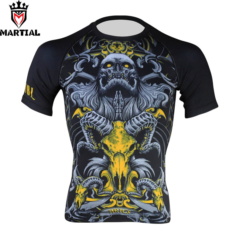 Martial: Aries Sublimation Design Bjj Rashguards Boxing T Shirt Athetic Compression Tights Martial Art Jerseys
