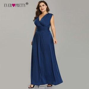 Image 2 - Женское длинное вечернее платье Ever Pretty, элегантное темно синее шифоновое платье трапеция с V образным вырезом, без рукавов, для торжественных случаев и свадеб, EZ07661, лето 2019