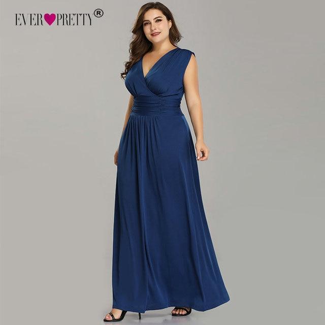 Plus Size Evening Dresses Long Ever Pretty EZ07661 Elegant Navy Blue V-neck  A-line Chiffon Sleeveless Formal Wedding Party Dress