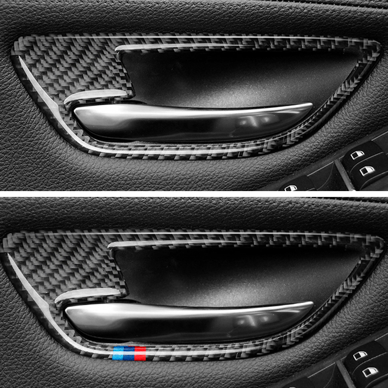 Image 5 - For BMW 5 Series F10 2011 2012 2013 2014 2015 2016 2017 4pcs Carbon Fiber Car Door Handle Door Bowl Cover-in Interior Mouldings from Automobiles & Motorcycles