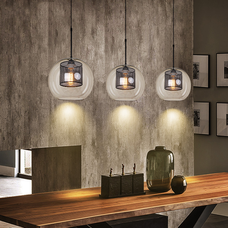 Modern Glass Pendant Lamps American Loft Industrial Kitchen Dining Bar Pendant Lights Living Room Study Lighting Fixtures Avize|Pendant Lights| |  - title=