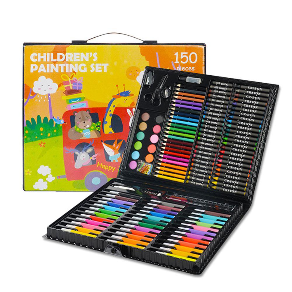 Kids Toy Arts Crafts 150 Children's Brush Gift Set Black Wood Plastic Material, With 150 Accessories Diy Drawing Coloring Sets
