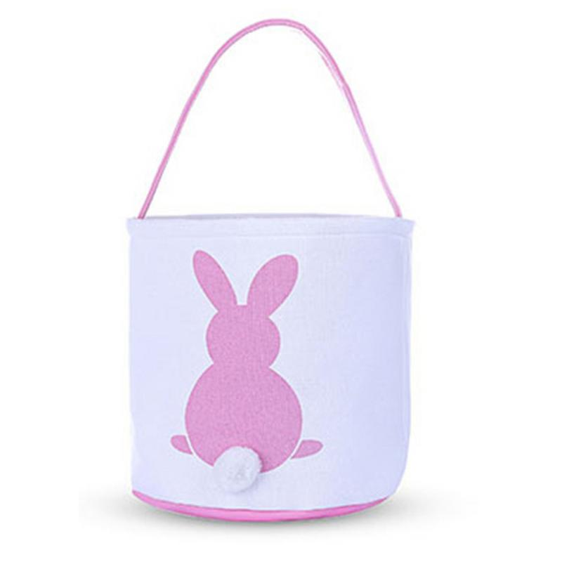 Easter Basket Cute Rabbit Canvas Storage Bucket Portable Tote Basket For Eggs Candies Gifts Easter Party Festival Supplies