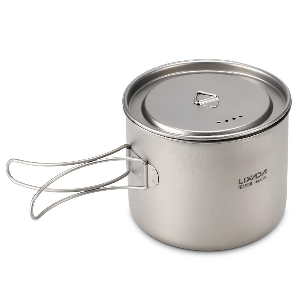 Pot en titane Lixada 1600 ml Pot suspendu Portable ultra-léger avec couvercle et poignée pliable Camping en plein air randonnée sac à dos
