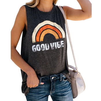 M-5XL Women Sleeveless Tshirt Loose Tank Tops Summer Rainbow Print Tops Vest Casual O-Neck Tee Shirt Ladies Tanktop Plus Size 1