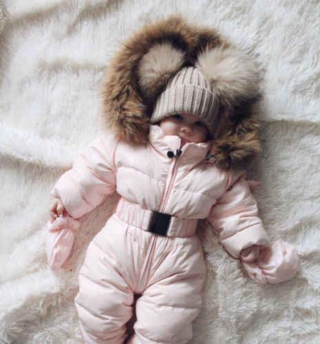 Теплые детские комбинезоны на утином пуху; зимняя Плотная хлопковая одежда для альпинизма; костюм для девочек с мехом; детский зимний комбинезон на утином пуху; зимняя одежда; От 6 месяцев до 3 лет