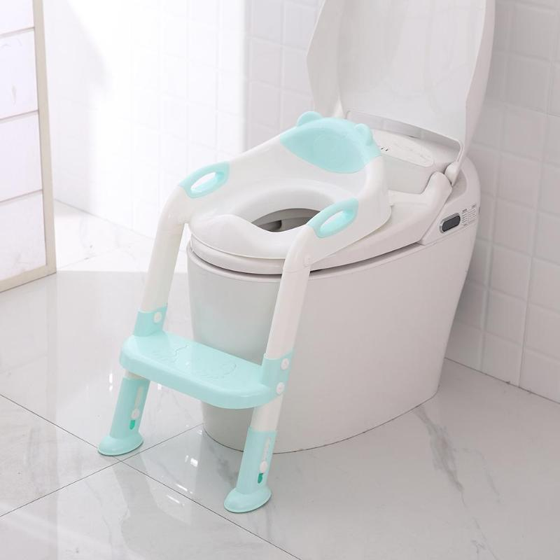 2 Colors Folding Baby child Potty Infant Kids Toilet Training Seat with Adjustable Ladder comfortable backrest cartoon cute pot