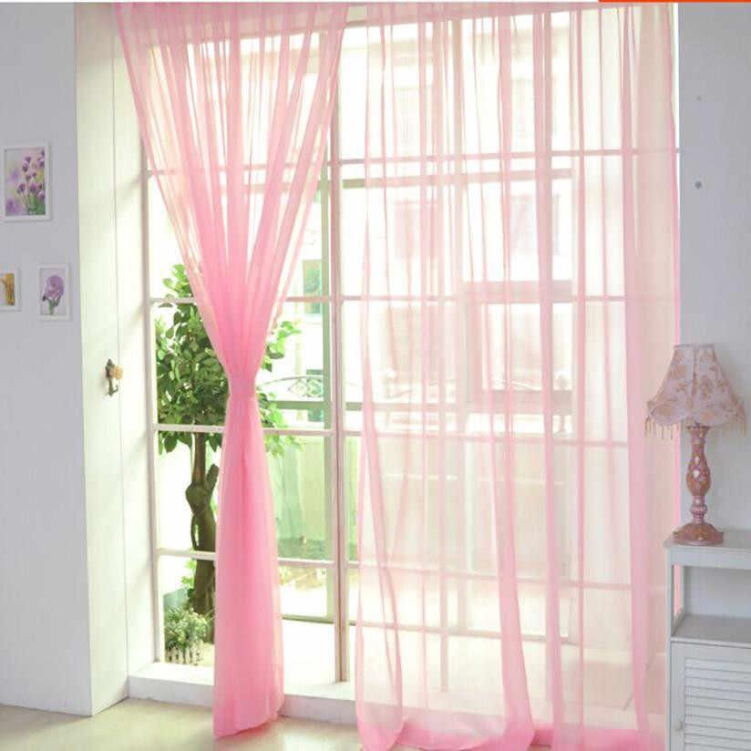 2018 מודרני וילונות לסלון טול חלון בית שינה טהור צבע וואל וילונות וילון 30