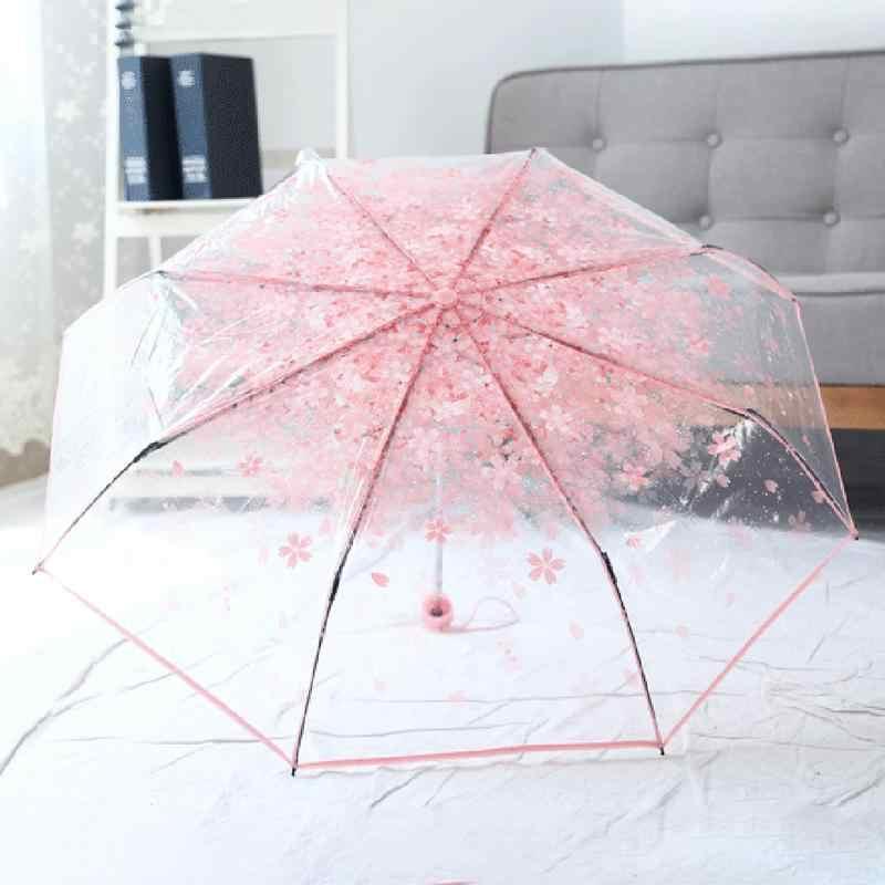 1 шт. зонт, Складывающийся втрое инновационные ясный вишневый цвет гриб аполлон прозрачный Сакура складной зонт от солнца, дождя Зонтик