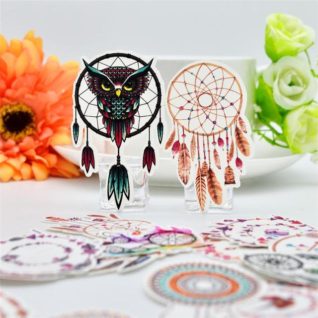US $1 86 19% OFF|25pcs Pretty Indian Dream Catcher sticker dry glue Magic  wishes /hand account Diary stationery Sticker-in Stationery Stickers from