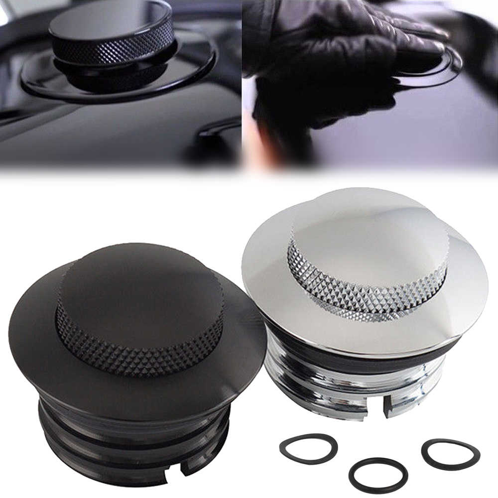 Mayitr 1pc Aluminum Black/Silver Motorcycle Flush Pop-Up Gas Cap With O-ring For H-arley Dyna Fat Bob CVO FXDFSE Softail Bad Boy