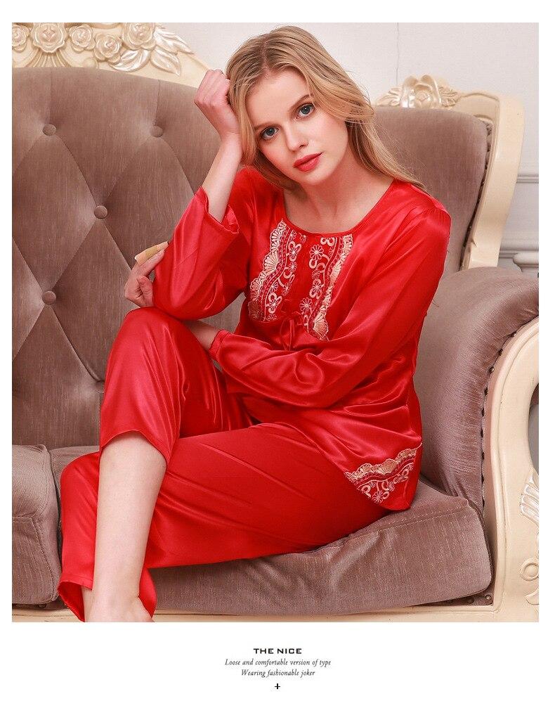 Womens Silk Satin Pajamas Pyjamas Set Sleepwear Loungewear Plus Size Lace O neck Long Sleeve Sleepwear in Pajama Sets from Underwear Sleepwears