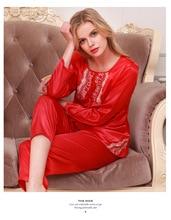 Womens Silk Satin Pajamas Pyjamas Set Sleepwear Loungewear Plus Size Lace O neck Long Sleeve