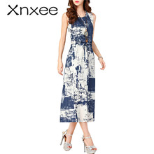 Xnxee Summer dresses women Sleeveless Casual A-Line Adjust Waist Vintage Dress Female Cotton Linen Dresses vestidos