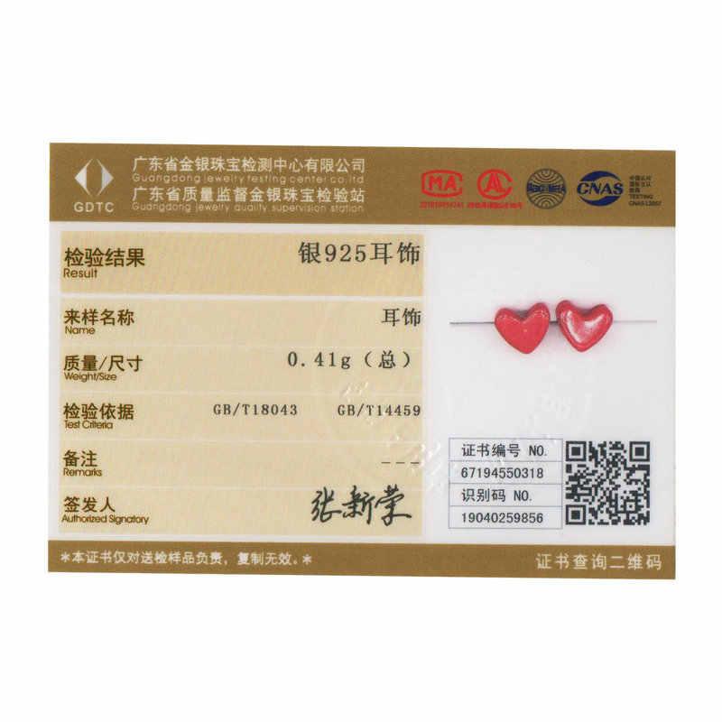 BAMOER MẠ 2019 Bông Tai Đinh Chống Dị Ứng Đá Đỏ Xanh Ngọc Tai Pin Phụ Nữ Bạc 925 Nữ Trang Sức Hàn Quốc SCE595
