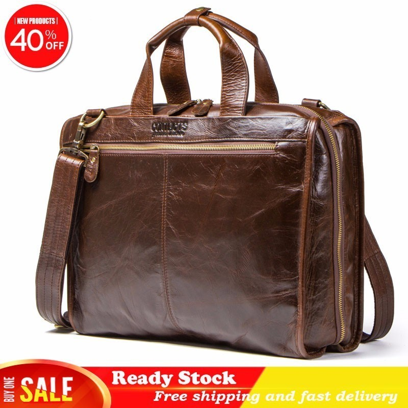 Luxury Brand Genuine Leather Business Affairs Briefcase Man High Quality Single Shoulder Satchel Leisure Time Computer Package
