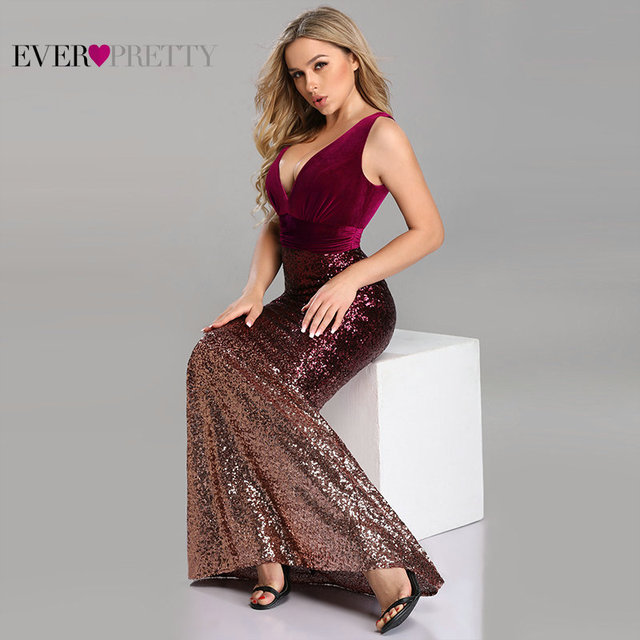 Robe De Soiree Ever Pretty Sexy Sequined Little Mermaid Burgundy Sparkle Party Gowns New Arrival Cheap Long Prom Dresses 2020 2