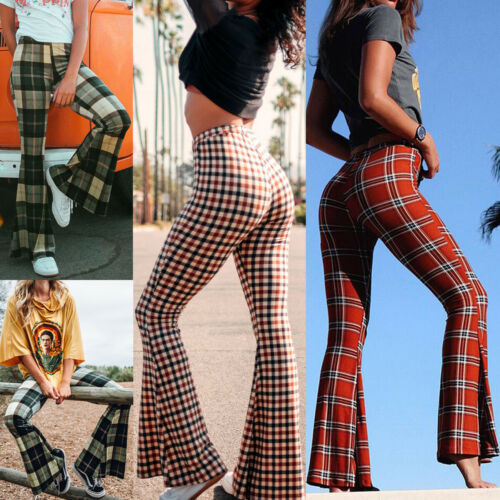 Vintage Plaid Bell-Bottom Trousers 4