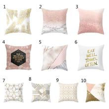 Geometric Minimalist English Alphabet Pattern Pillowcase Sofa Cushion Pillowcase Peach Velvet Home Decoration Pillowcase(China)